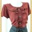 1866เสื้อผ้าคนอ้วน ชุดทำงานปกบัวต่อระบายครึ่งตัวแต่งกระดุมหน้าเจาะคอหลังเพื่อความสะดวกในการสวมใส่แขนตุ๊กตามีซับใน thumbnail 2