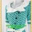 2454ชุดแซกทำงาน เสื้อผ้าคนอ้วนสุดเนี๊ยบลวดลายแต่งปกสไตล์เลิศหรูสีเขียวตัดขาวพรางสรีระด้วยลายผ้า thumbnail 3