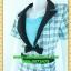 2530ชุดทํางาน เสื้อผ้าคนอ้วนผ้าลายไทยตารางโดดเด่น คล้ายสวมเสื้อนอกคลุมไม่ต้องสวมเกาะอกด้านใน เข้ารูปร่างเอวมีสัดส่วนทรวดทรงโฉบเฉี่ยวมั่นใจแบบสไตล์สาวทำงานกระโปรงทรงสอบมีซับใน thumbnail 3