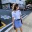 เสื้อยืดแฟชั่น ดีไซน์เก๋ แต่งโชว์ไหล่ข้างข้างขวา-1477-สีขาว thumbnail 2