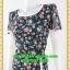 2671ชุดเดรสทำงาน เสื้อผ้าคนอ้วน สีดำลายดอกเล่นกุ๊นแถบสีคอกลมกระโปรงป้ายเสริมชิ้นลอยพาดครึ่งตัว เพิ่มจีบกระโปรงบนตัวชุดอย่างหรูหรา thumbnail 3