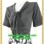 2557ชุดทํางาน เสื้อผ้าคนอ้วนผ้าลายสีดำแขน2ชั้นสไตล์หรูเบาสบายรับซัมเมอร์ คอผูกโบสไตล์สุภาพ เรียบร้อย มีซับใน thumbnail 3