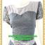 2780เสื้อผ้าคนอ้วน เสื้อผ้าแฟชั่นชุดสีเทาตัดต่อช่วงอกปูผ้าลูกไม้ทั้งชุดรองซับในแขนตุ๊กตาแต่งโบสำเร็จสไตล์ออกงานหรู thumbnail 3