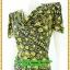 3085ชุดทำงาน เสื้อผ้าคนอ้วนลายไทยสีเหลือง คอถ่วงชุดเข้ารูปเอาทรงเอผ้าเบาพริ้วนิ่มทิ้งตัว thumbnail 3