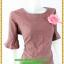 2905เสื้อผ้าคนอ้วน ชุดแซกทำงาสีเลือดหมูคอเหลี่ยมปลายแขนและชายระบายสไตล์เรียบง่าย คลาสสิค thumbnail 2
