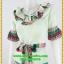 3000ชุดทํางาน เสื้อผ้าคนอ้วนผ้าวาเลนติโน่ลายข้างขวางตัวโดดเด่นสะดุดตาแขนทรงระฆังคอวีระบายรอบ สวมใส่สบายหรูหราอลังการเลือกใส่เป็นชุดออกงานเลิศหรู thumbnail 3