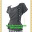 2656เสื้อผ้าคนอ้วน ชุดทำงานคอกลมแขนเลยแต่งจีบข้างลำตัวและระบายชายเอวด้วยลายกระโปรงลายไทยๆสะดุดตา thumbnail 3
