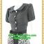 2635ชุดเดรสทำงาน เสื้อผ้าคนอ้วนชุดสีดำกระโปรงม้าลายคอบัวกระดุมหน้าแขนตุ๊กตาสไตล์สาวช่างเลือก ละเอียด รอบคอบ thumbnail 3