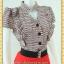 1999เสื้อผ้าคนอ้วน ชุดทำงานทูโทนระบาย2ข้างคอจีนแขนคร่อมแดงลายกราฟฟิค ตัดกระโปรงสวยเด่นแบบสาวเนี๊ยบ โฉบเฉี่ยว มั่นใจในรูปร่าง thumbnail 3