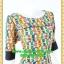 2670ชุดเดรสทำงาน เสื้อผ้าคนอ้วน ผ้าไหมอิตาลี่ลายแซ่บเว่อร์ คอปาดแขนยาวแต่งดำสะดุดตาหรูเลิศ thumbnail 2