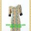 2670ชุดเดรสทำงาน เสื้อผ้าคนอ้วน ผ้าไหมอิตาลี่ลายแซ่บเว่อร์ คอปาดแขนยาวแต่งดำสะดุดตาหรูเลิศ thumbnail 1