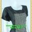 2440ชุดทํางาน เสื้อผ้าคนอ้วนคอกลมดอกตัดต่อพิ้นช่วงบ่าปรับสรีระให้บางและพรางรูปร่างเทรนด์คลาสสิคสีดำมีซับใน thumbnail 2
