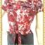 1928ชุดเดรสทำงาน เสื้อผ้าคนอ้วนสีม่วงแดงพิมพ์ลายดอกแทรกลูกไม้ปักบนชุดสลับเกล็ดกระดุมหน้า ผูกโบสวยหวาน thumbnail 2