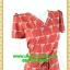 2620ชุดทํางาน เสื้อผ้าคนอ้วนคอวีสีแดงเลือดนกคอวีลายแขนฟิลิปปินส์แต่งโบด้านหน้า สไตล์ล้ำคลาสสิคสุภาพเป็นทางการอย่างโดดเด่นงานละเอียดด้วยซับใน thumbnail 2