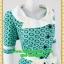 2454ชุดแซกทำงาน เสื้อผ้าคนอ้วนสุดเนี๊ยบลวดลายแต่งปกสไตล์เลิศหรูสีเขียวตัดขาวพรางสรีระด้วยลายผ้า thumbnail 2