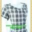 F0597ชุดแซกทำงาน เสื้อผ้าคนอ้วนลายสก็อตดำแต่งกระดุมด้านหน้าคู่ตลอดแนวจีบชายกระโปรงสวยหวานเป็นดีไซน์เก๋ thumbnail 2