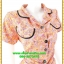 2938เสื้อผ้าคนอ้วน ชุดทำงานสีส้มลายกนกปกฮาวายตัดขอบดำเบรคลายสไตล์หวาน thumbnail 2