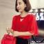 เสื้อแฟชั่น แขนสั้นทรงบานพริ้วออกงานสวยหรู-1520-สีแดง thumbnail 1