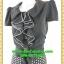 2647ชุดเสื้อผ้าคนอ้วน ชุดทำงานคนอ้วน ชุดดำกระโปรงลายจุดสุดคลาสสิคสวมใส่ทำงานพรางรูปร่างเรียบร้อย สุภาพเรียบง่ายสไตล์คลาสสิค thumbnail 3