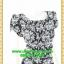 2614เสื้อผ้าคนอ้วน ชุดทำงานลายไทยขาวดำตีเกล็ดหน้าคอกลมแขนคร่อมไหล่แต่งจีบปลายต่อเอวด้วยชิ้นลอยกระโปรงทรงตรงมีซับใน thumbnail 2