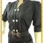 F0360ชุดแซกทำงาน เสื้อผ้าคนอ้วนแขนครึ่งศอกคอจีนกระดุมคู่เดินเส้นขาวตัดลายดีไซน์ทรงสปอร์ตชุดดำ thumbnail 2