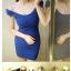 ชุดเดรสแฟชั่นสไตล์เกาหลี ผ้าฝ้ายยืดเข้ารูป คอกว้าง มี3สีค่ะ thumbnail 6