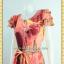 1993เสื้อผ้าคนอ้วน เสื้อผ้าแฟชั่นโมเดิร์นกราฟฟิคสไตล์ออกงานแขนระบายหลายชั้นปิดไหล่คอกลมคาดโบว์ thumbnail 2
