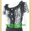 2646ชุดทํางาน เสื้อผ้าคนอ้วนผ้าลายม้าลายขาวดำแต่งระบายคอด้านหน้าเพิ่มความหวานจับคู่กระโปรงสีเข้มสำหรับสาว thumbnail 3