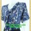 2551ชุดทํางาน เสื้อผ้าคนอ้วนผ้าลายสีน้ำเงินเข้มแขน2ชั้นสไตล์หรูเบาสบายรับซัมเมอร์ คอผูกโบสไตล์สุภาพ เรียบร้อย มีซับใน thumbnail 3