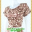 3021ชุดทํางาน เสื้อผ้าคนอ้วนลายจุดน้ำตาลคอกลมกุ๊นแขนกลีบบัวซ้อนสวยเรียบสไตล์ออริจินัล thumbnail 3