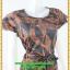 3012เสื้อผ้าคนอ้วน ชุดทำงานลายโมเดิร์นสไตล์หวานเรียบร้อยแขนระบายปิดไหล่คอกลมคาดโบว์ thumbnail 2