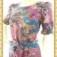 1636ชุดแซกทำงาน เสื้อผ้าคนอ้วนผ้าชีฟองลายวินเทจคอกลม แขนยาวแต่งระบาย เข้ารูปช่วงเอวด้วยโบว์กระโปรงทิ้งตัวทรงเอย้วยเล็กน้อยสไตล์สาววินเทจ thumbnail 2