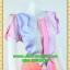 2453ชุดทํางาน เสื้อผ้าคนอ้วนลายทางสลับสีเข้มอ่อนคอกลมกุ๊นแขนกลีบบัวซ้อนสวยเรียบสไตล์ออริจินัล thumbnail 2