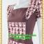 2589ชุดทํางาน เสื้อผ้าคนอ้วนคอเหลี่ยมลายสก็อตแต่งสลับพื้นพรางสรีระสไตล์เนี๊ยบโมเดิร์น thumbnail 3