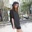 เสื้อยืดแฟชั่นเกาหลี ทรงปีกค้างคาวลายริ้ว แขนเสื้อชีฟอง-1073-สีดำ thumbnail 4