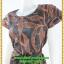 3012เสื้อผ้าคนอ้วน ชุดทำงานลายโมเดิร์นสไตล์หวานเรียบร้อยแขนระบายปิดไหล่คอกลมคาดโบว์ thumbnail 3