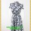3058ชุดเสื้อผ้าคนอ้วน ชุดทำงานคอจีนลายไทยสีน้ำเงินสไตล์เปรี้ยวหรูไฮโซชุดคอจีนป้ายสำเร็จเก็บทรงเนี๊ยบสุด thumbnail 4