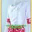 1374ชุดทํางาน เสื้อผ้าคนอ้วนคอกลมสีขาวมีลายผีเสื้อกระโปรงแต่งขอบแขนดีไซน์เรียบแต่โดดเด่นสไตล์หวานวินเทจเรียบร้อย thumbnail 3