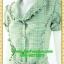 2433ชุดเดรสทำงาน เสื้อผ้าคนอ้วนปกเทเลอร์ใหญ่กระดุมหน้าสีเขียวลายชิโนริสไตล์เนี๊ยบ ทรงสุภาพเป็นทางการสวมใส่ทำงาน thumbnail 3