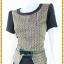 3151เสื้อผ้าคนอ้วนผ้าไทย ทอลายไทย สีดำคอกลมระบายเอวตัดต่อกระโปรงทรงดินสอสีดำช่วยเพิ่มความสูงช่วงขาพร้อมมั่นใจสวมใส่ทำงาน thumbnail 3