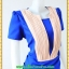 2869เสื้อผ้าคนอ้วน ชุดเดรสทำงานสีน้ำเงินแต่งชิ้นลอยตีเกล็ดสีครีมตีเกล็ดมีกระเป๋ากระโปรงล้วงซ้ายขวาสไตล์สาวมั่น thumbnail 2