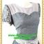 2780เสื้อผ้าคนอ้วน เสื้อผ้าแฟชั่นชุดสีเทาตัดต่อช่วงอกปูผ้าลูกไม้ทั้งชุดรองซับในแขนตุ๊กตาแต่งโบสำเร็จสไตล์ออกงานหรู thumbnail 2