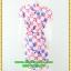 2941ชุดเดรสทำงาน เสื้อผ้าคนอ้วน สีชมพูลายดอกวินเทจเล่นกุ๊นแถบสีคอกลมกระโปรงป้ายเสริมชิ้นลอยพาดครึ่งตัว เพิ่มลายดอกสลับบนตัวชุดอย่างหรูหรา thumbnail 4