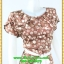 3021ชุดทํางาน เสื้อผ้าคนอ้วนลายจุดน้ำตาลคอกลมกุ๊นแขนกลีบบัวซ้อนสวยเรียบสไตล์ออริจินัล thumbnail 2