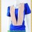 2869เสื้อผ้าคนอ้วน ชุดเดรสทำงานสีน้ำเงินแต่งชิ้นลอยตีเกล็ดสีครีมตีเกล็ดมีกระเป๋ากระโปรงล้วงซ้ายขวาสไตล์สาวมั่น thumbnail 3