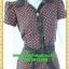 1996ชุดเดรสทำงาน เสื้อผ้าคนอ้วนลายจุดกราฟฟิคหรูปกเชิ๊ตแขนกลีบบัวกระดุมหน้ากระโปรงเข้มพรางสะโพกสไตล์สาวมั่นคล่องตัว thumbnail 2