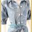 3140ชุดทํางาน เสื้อผ้าคนอ้วนผ้ายีนส์เนื้อหนาสีฟ้าวันแม่คอปกเชิ้ต แขนตุ๊กตา โชว์ด้ายขาวตัดทั้งชุดเพิ่มลวดลายเสริมด้วยกระดุมสวยงาม thumbnail 2