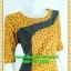 2806เสื้อผ้าคนอ้วน ชุดทำงานแฟชั่นสีเหลืองลายแขนยาวคอกลมตัดต่ออกสโลปสไตล์งานโมเดิร์นพรางรูปร่างผ้าไหมอิตาลี่ thumbnail 2