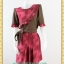 1916เสื้อผ้าคนอ้วน เสื้อผ้าแฟชั่นคอกลมแขนยาวแต่งระบายโค้งด้านหน้าสีสันสดใสเพิ่มความหวานด้วยกระโปรงจีบ thumbnail 1