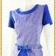 3159เสื้อผ้าคนอ้วนผ้าไทย ทอลายไทย สีน้ำเงินคอกลมระบายเอวตัดต่อกระโปรงทรงดินสอสีน้ำเงินช่วยเพิ่มความสูงช่วงขาพร้อมมั่นใจสวมใส่ทำงาน thumbnail 3